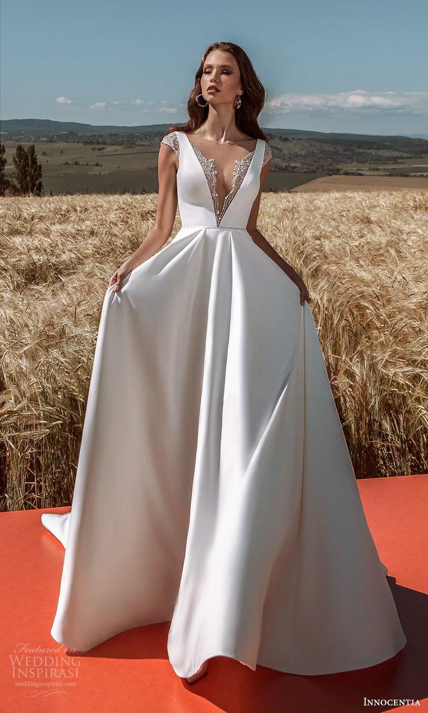 innocentia 2021 harmonia bridal cap sleeves illusion bateau plunging v neckline clean minimalist a line ball gown wedding dress chapel train (11) mv