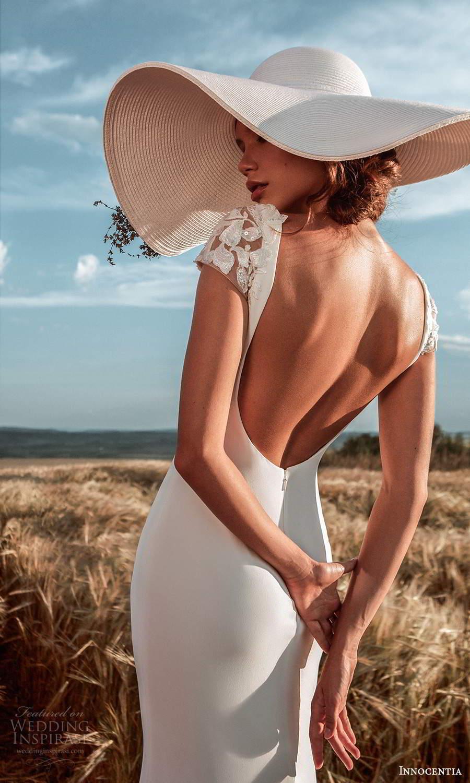 innocentia 2021 harmonia bridal cap sleeves jewel neckline clean minimalist sheath wedding dress low back chapel train (7) bv