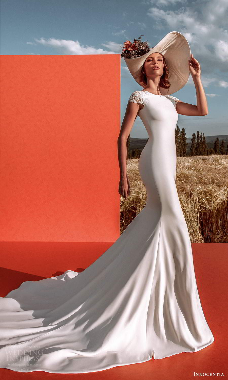 innocentia 2021 harmonia bridal cap sleeves jewel neckline clean minimalist sheath wedding dress low back chapel train (7) mv
