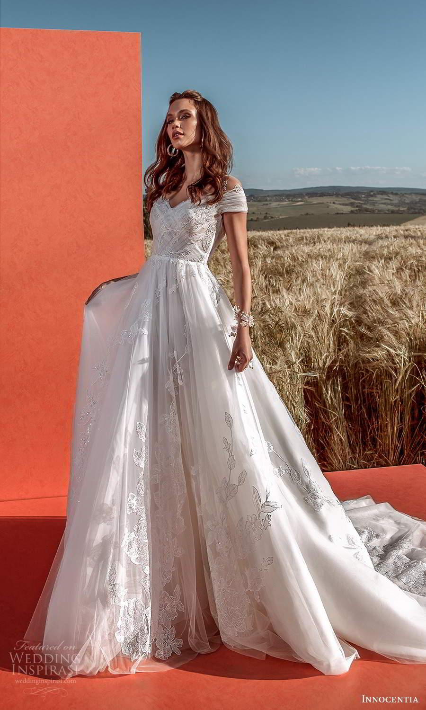 innocentia 2021 harmonia bridal cap sleeves off shoulder neckline embellished bodice lace a line ball gown wedding dress chapel train (17) mv
