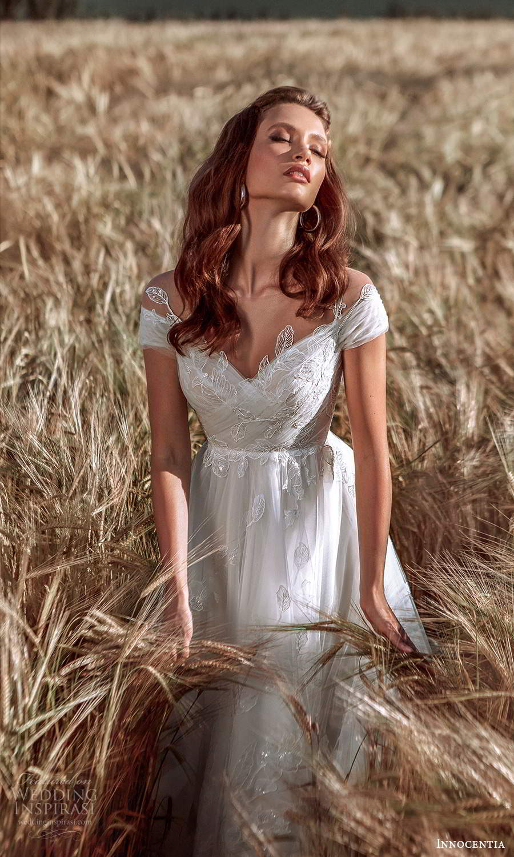innocentia 2021 harmonia bridal cap sleeves off shoulder neckline embellished bodice lace a line ball gown wedding dress chapel train (17) zv