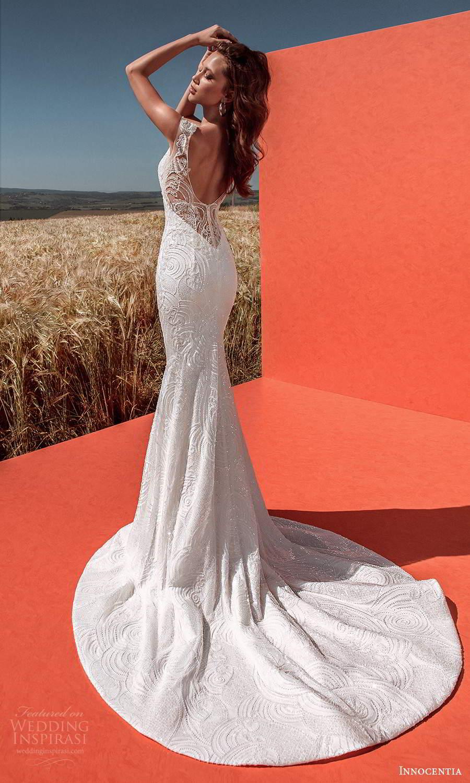 innocentia 2021 harmonia bridal cap sleeves plunging v neckline fully embellished sheath wedding dress low back chapel train (6) bv