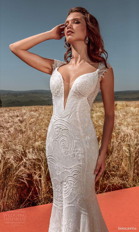 innocentia 2021 harmonia bridal cap sleeves plunging v neckline fully embellished sheath wedding dress low back chapel train (6) mv