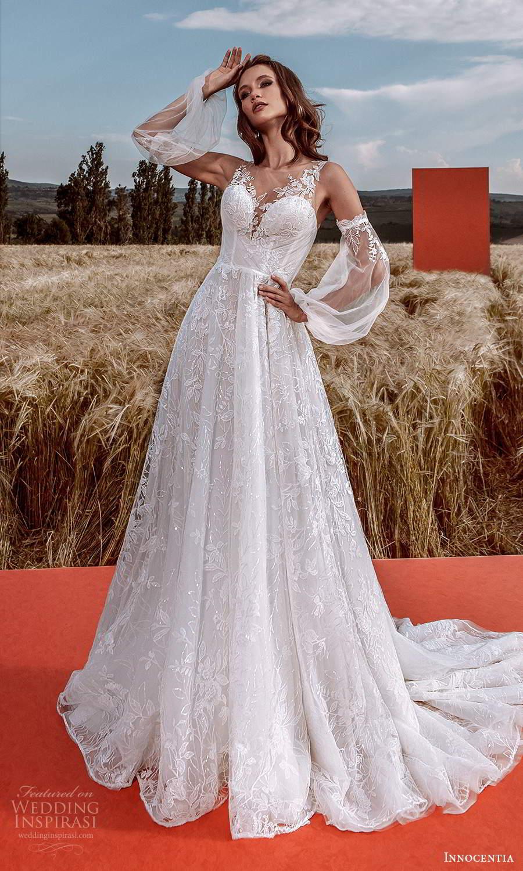 innocentia 2021 harmonia bridal detached bishop sleeves sleeveless illusion straps sweetheart neckline fully embellished a line ball gown wedding dress chapel train (24) mv