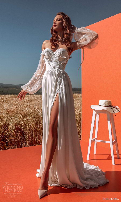 innocentia 2021 harmonia bridal detached bishop sleeves strapless sweetheart neckline ruched bodice a line wedding dress chapel train slit skirt (16) mv