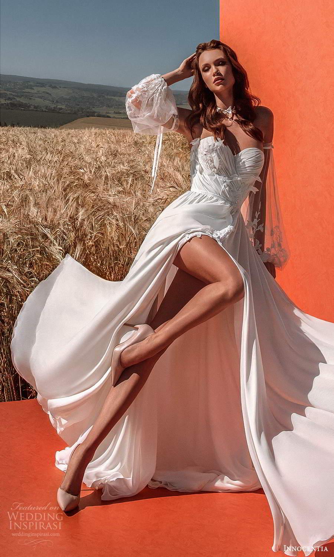 innocentia 2021 harmonia bridal detached bishop sleeves strapless sweetheart neckline ruched bodice a line wedding dress chapel train slit skirt (16) zv