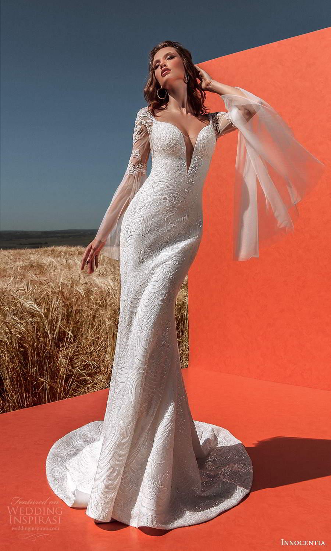 innocentia 2021 harmonia bridal flared long sleeves cap sleeves plunging v neckline fully embellished sheath wedding dress low back chapel train (6) mv