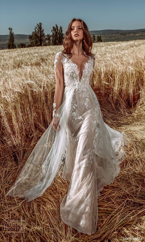 innocentia 2021 harmonia bridal illusion long sleeves plunging v neckline fully embellished lace sheath wedding dress a line overskirt (3) mv