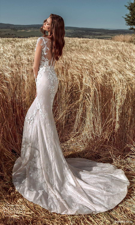 innocentia 2021 harmonia bridal illusion long sleeves plunging v neckline fully embellished lace sheath wedding dress a line overskirt illusion back chapel train (3) bv