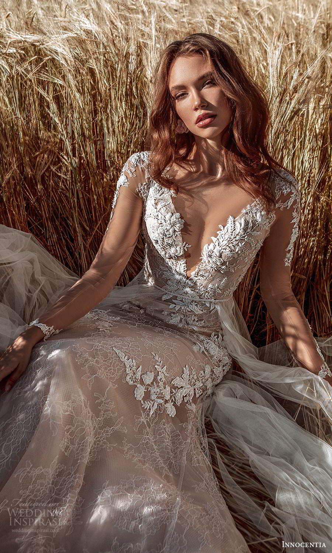 innocentia 2021 harmonia bridal illusion long sleeves plunging v neckline fully embellished lace sheath wedding dress a line overskirt illusion back chapel train (3) zv