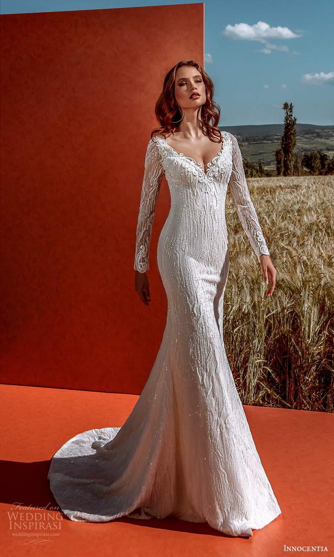 innocentia 2021 harmonia bridal long sleeve off shoulder v neckline fully embellished sheath wedding dress chapel train (20) mv