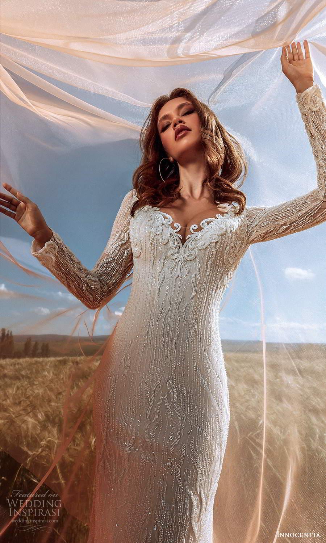 innocentia 2021 harmonia bridal long sleeve off shoulder v neckline fully embellished sheath wedding dress chapel train (20) zv