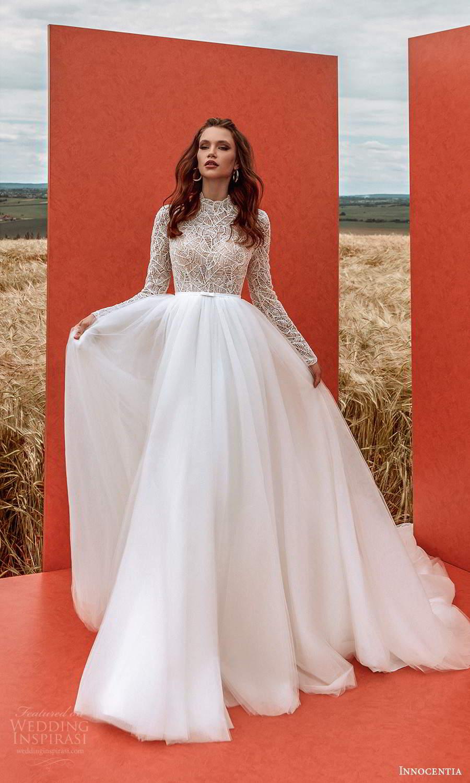 innocentia 2021 harmonia bridal long sleeves high neckline embellished bodice clean skirt a line ball gown wedding dress chapel train (4) mv