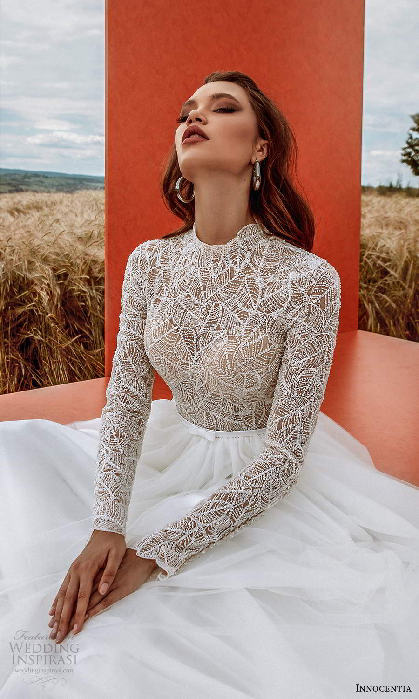 innocentia 2021 harmonia bridal long sleeves high neckline embellished bodice clean skirt a line ball gown wedding dress chapel train (4) zv