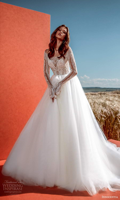 innocentia 2021 harmonia bridal long sleeves off shoulder neckline heavily embellished bodice clean skirt a line ball gown wedding dress chapel train (18) mv