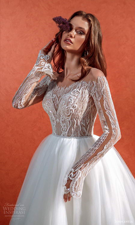 innocentia 2021 harmonia bridal long sleeves off shoulder neckline heavily embellished bodice clean skirt a line ball gown wedding dress chapel train (18) zv