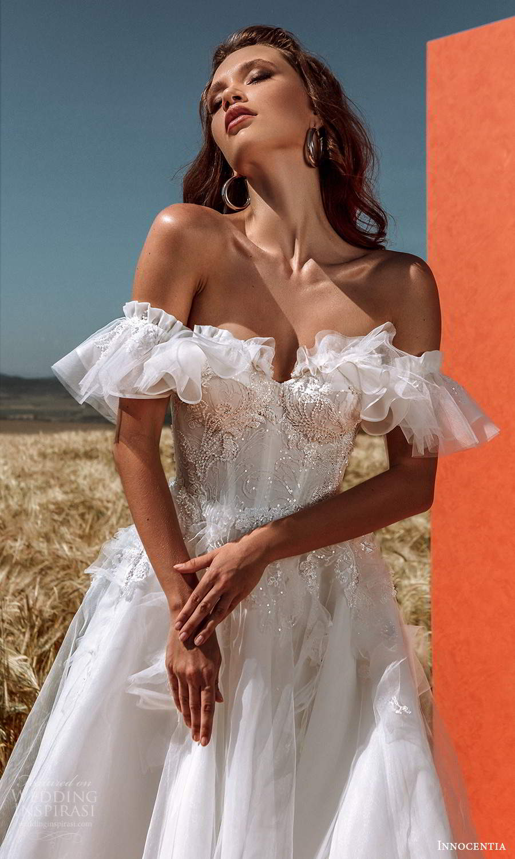innocentia 2021 harmonia bridal off shoulder straps sweetheart neckline heavily embellished bodice a line ball gown wedding dress chapel train (27) mv