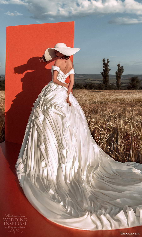 innocentia 2021 harmonia bridal off shoulder straps sweetheart neckline ruched bodice flange ruffle skirt a line ball gown wedding dress chapel train (13) bv