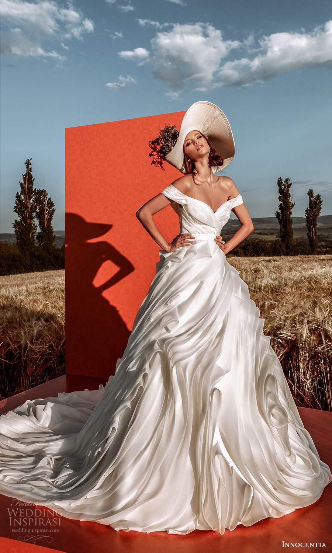 innocentia 2021 harmonia bridal off shoulder straps sweetheart neckline ruched bodice flange ruffle skirt a line ball gown wedding dress chapel train (13) mv