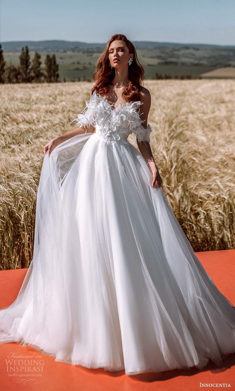 innocentia 2021 harmonia bridal off shoulder swag straps sweetheart neckline heavily embellished feather bodice a line ball gown wedding dress chapel train (25) mv