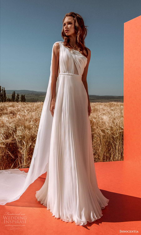 innocentia 2021 harmonia bridal one shoulder strap asymmetric neckline pleated skirt a line wedding dress chapel train (26) mv