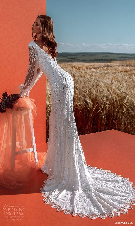 innocentia 2021 harmonia bridal sheer bishop sleeves v neckline fully embellished sheath wedding dress chapel train v back (10) bv
