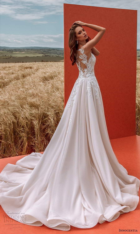 innocentia 2021 harmonia bridal sheer cap sleeves plunging v neckline fully embellished a line ball gown wedding dress chapel train (5) bv