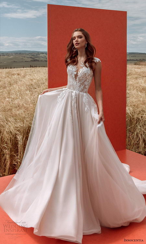innocentia 2021 harmonia bridal sheer cap sleeves plunging v neckline fully embellished a line ball gown wedding dress chapel train (5) mv