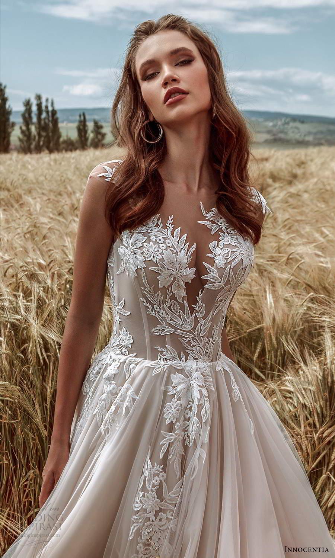 innocentia 2021 harmonia bridal sheer cap sleeves plunging v neckline fully embellished a line ball gown wedding dress chapel train (5) zv