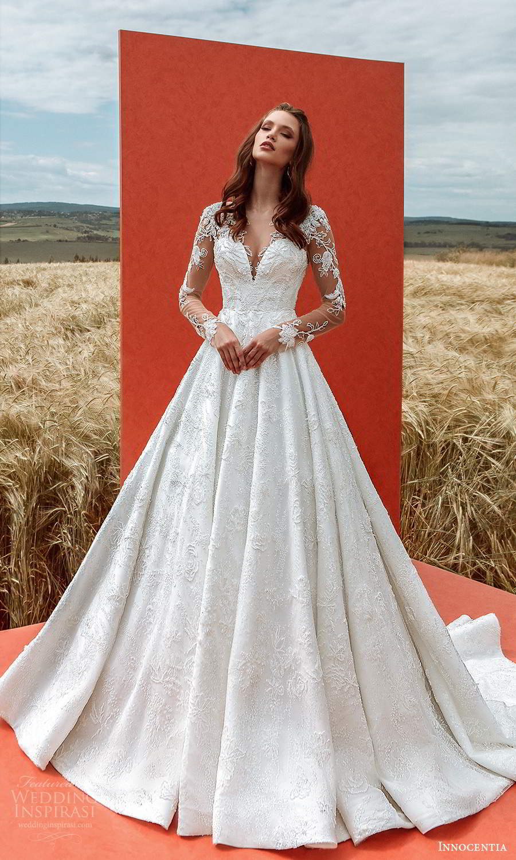 innocentia 2021 harmonia bridal sheer long sleeves sweetheart v neckline fully embelilshed a line ball gown wedding dress chapel train (8) mv
