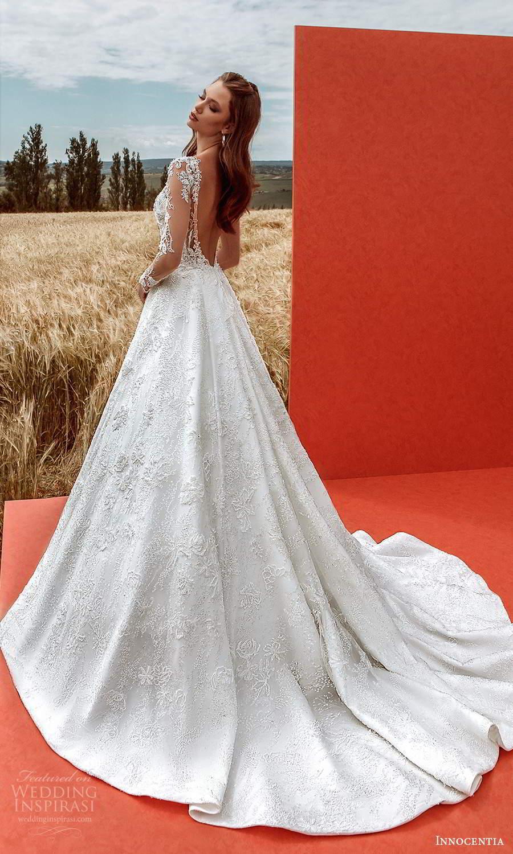 innocentia 2021 harmonia bridal sheer long sleeves sweetheart v neckline fully embelilshed a line ball gown wedding dress chapel train low back (8) bv