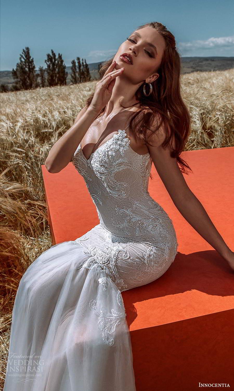 innocentia 2021 harmonia bridal sleeveless beaded straps v neckline heavily embellished bodice fit flare mermaid wedding dress chapel train (21) mv