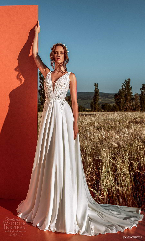 innocentia 2021 harmonia bridal sleeveless straps plunging v neckline embellished bodice a line wedding dress chapel train (19) mv