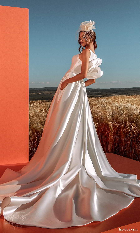 innocentia 2021 harmonia bridal sleeveless straps split jewel neckline clean minimalist a line ball gown wedding dress pocket chapel train bow back (28) bv