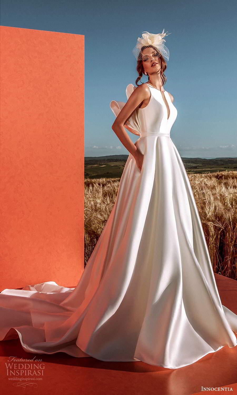 innocentia 2021 harmonia bridal sleeveless straps split jewel neckline clean minimalist a line ball gown wedding dress pocket chapel train bow back (28) mv