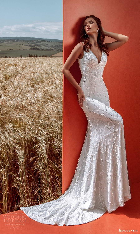 innocentia 2021 harmonia bridal sleeveless thick straps v neckline fully embellished sheath wedding dress sweep train (12) mv