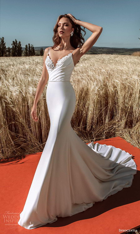 innocentia 2021 harmonia bridal sleeveless thin straps embellished v neckline ruched bodice clean skirt fit flare mermaid wedding dress chapel train (14) mv