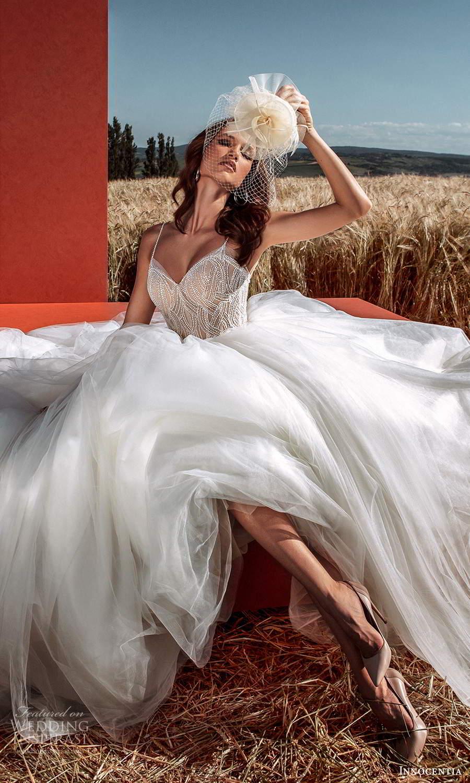 innocentia 2021 harmonia bridal sleeveless thin straps sweetheart neckline embellished bodice a line ball gown wedding dress chapel train (1) mv
