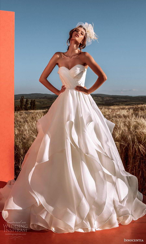innocentia 2021 harmonia bridal strapless semi sweetheart neckline clean a line ball gown wedding dress ruffle flange skirt chapel train (25) mv