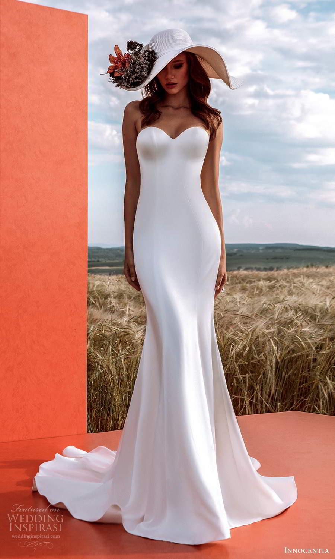 innocentia 2021 harmonia bridal strapless sweetheart neckline clean minimalist sheath wedding dress chapel train (23) mv