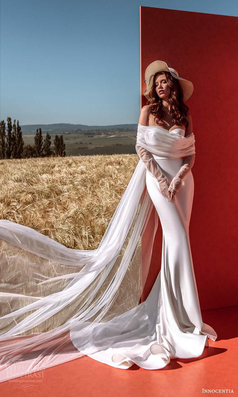 innocentia 2021 harmonia bridal strapless sweetheart neckline corset bodice clean minimalist sheath wedding dress chapel train (15) mv