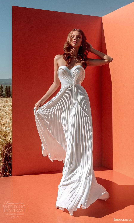 innocentia 2021 harmonia bridal strapless sweetheart neckline pleated skirt a line ball gown wedding dress chapel train (9) mv