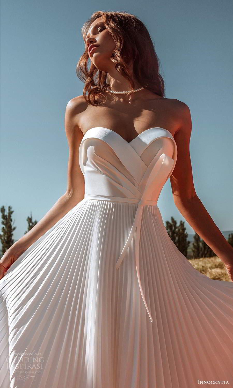innocentia 2021 harmonia bridal strapless sweetheart neckline pleated skirt a line ball gown wedding dress chapel train (9) zv