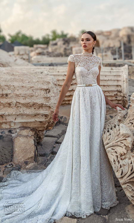 julie vino 2021 bridal cap sleeves high neckline fully embellished a line ball gown wedding dress chapel train (10) mv