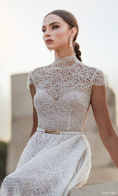 julie vino 2021 bridal cap sleeves high neckline fully embellished a line ball gown wedding dress chapel train (10) zv