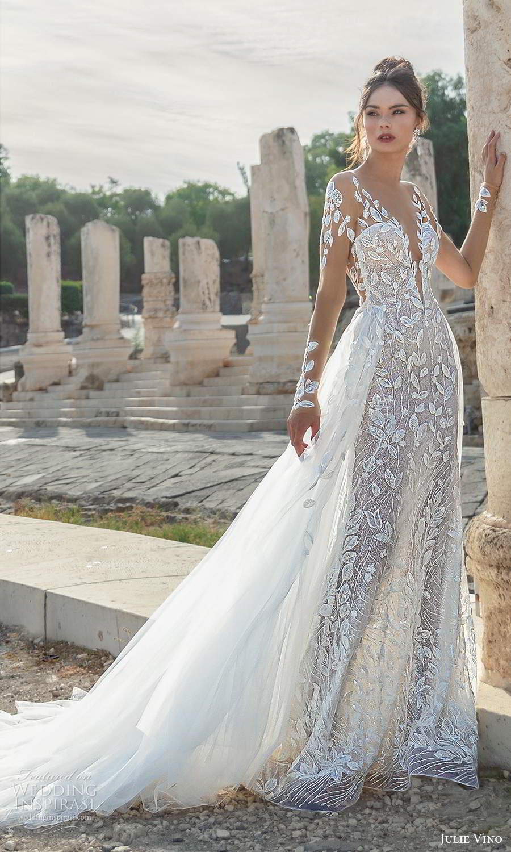 julie vino 2021 bridal illusion long sleeves plunging sweetheart neckline fully embellished sheath wedding dress a line overskirt chapel train (3) mv