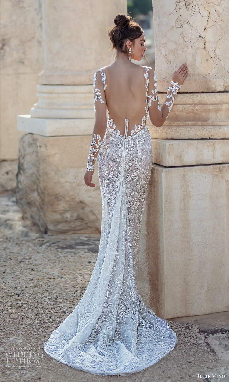 julie vino 2021 bridal illusion long sleeves plunging sweetheart neckline fully embellished sheath wedding dress chapel train (3) bv