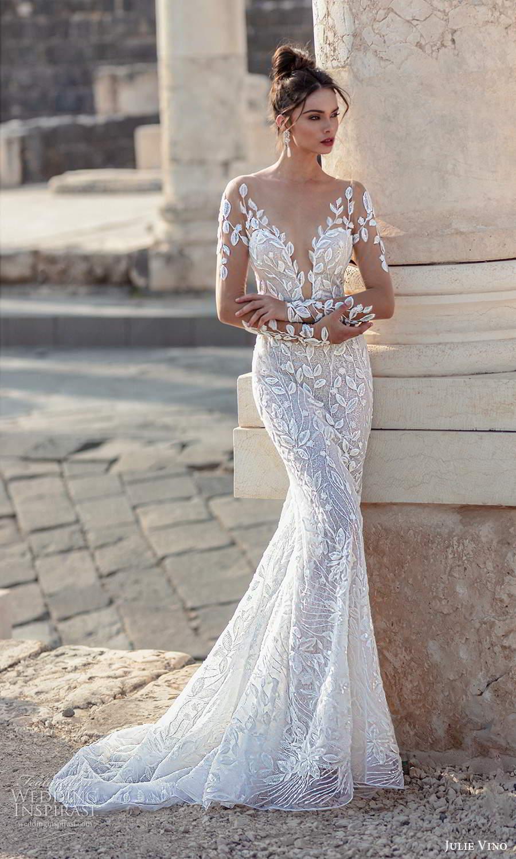 julie vino 2021 bridal illusion long sleeves plunging sweetheart neckline fully embellished sheath wedding dress chapel train (3) mv