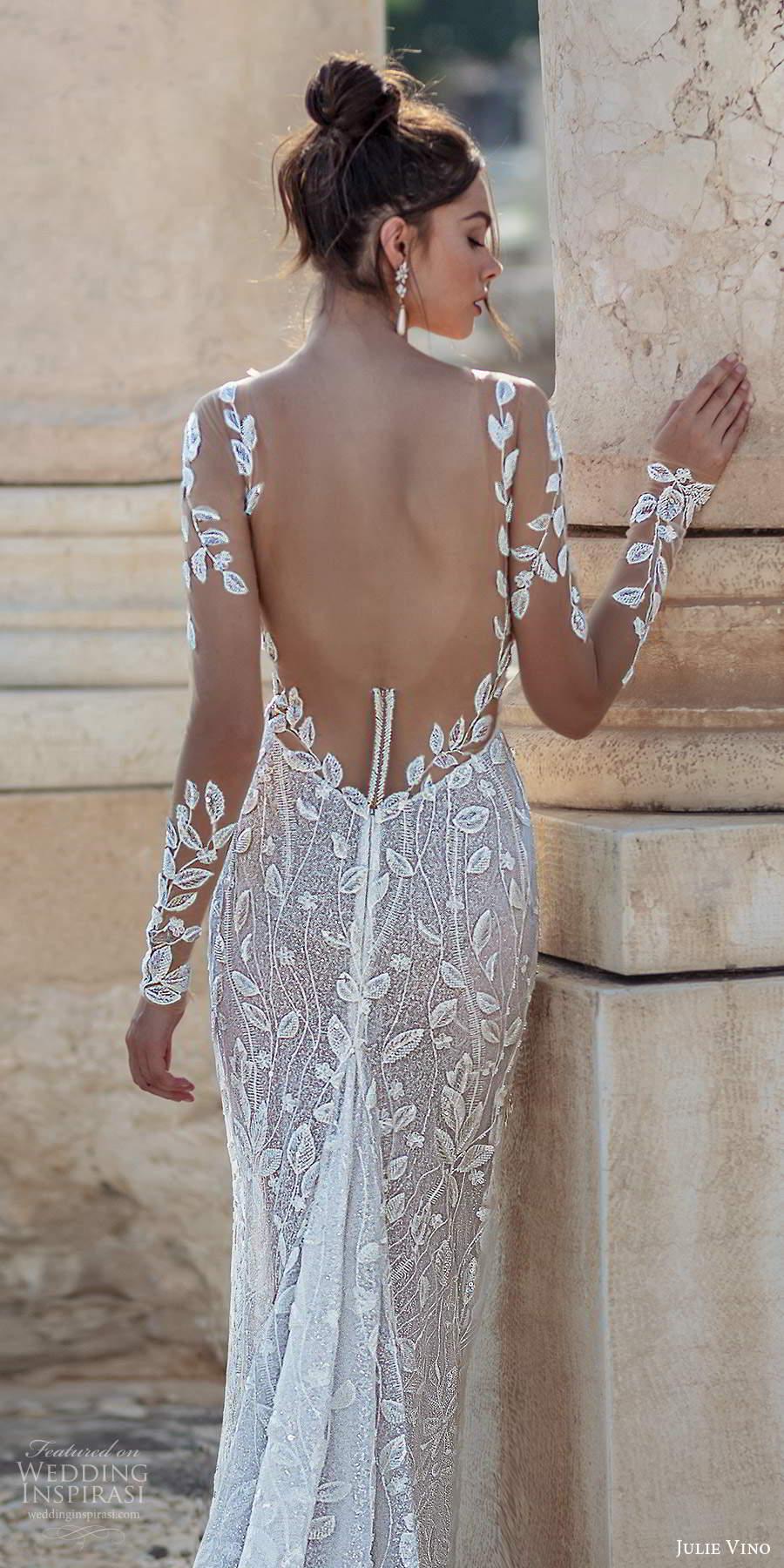 julie vino 2021 bridal illusion long sleeves plunging sweetheart neckline fully embellished sheath wedding dress chapel train (3) zbv