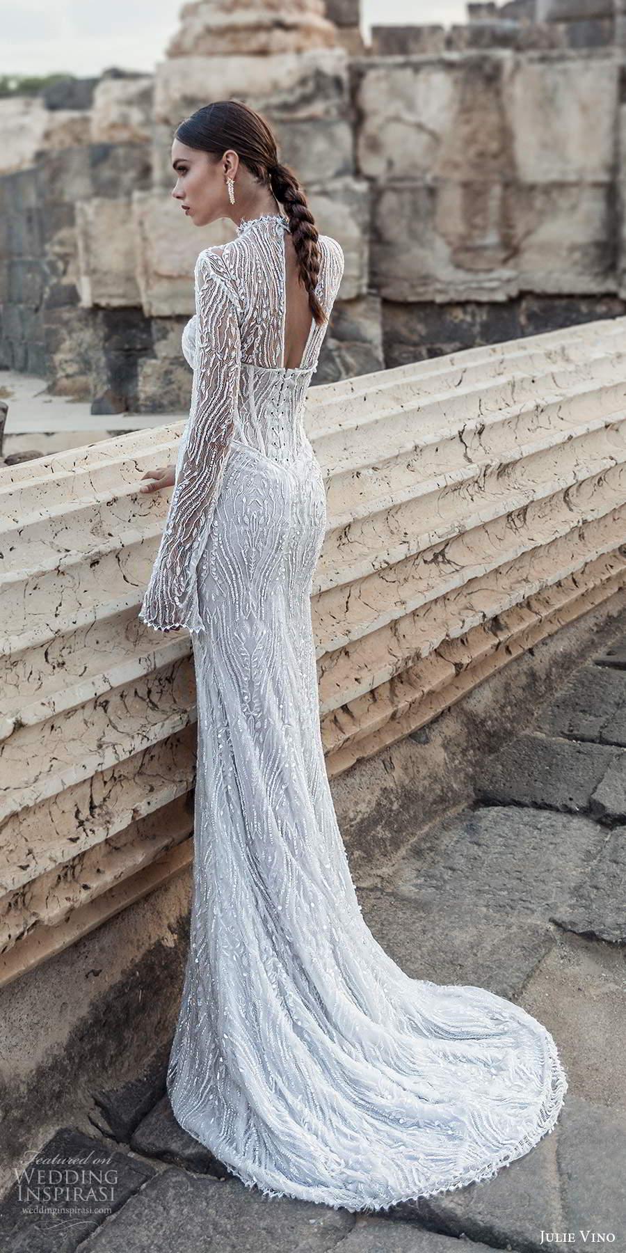 julie vino 2021 bridal long sleeves high neckline corset bodice fully embellished sheath wedding dress sweep train cutout back (7) bv